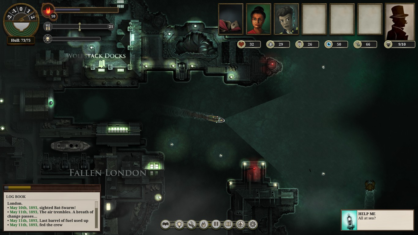 Top-down view. A steam ship leaves Wolfstack Docks upon a dark sea, a cone of light illuminating the sea ahead of it.