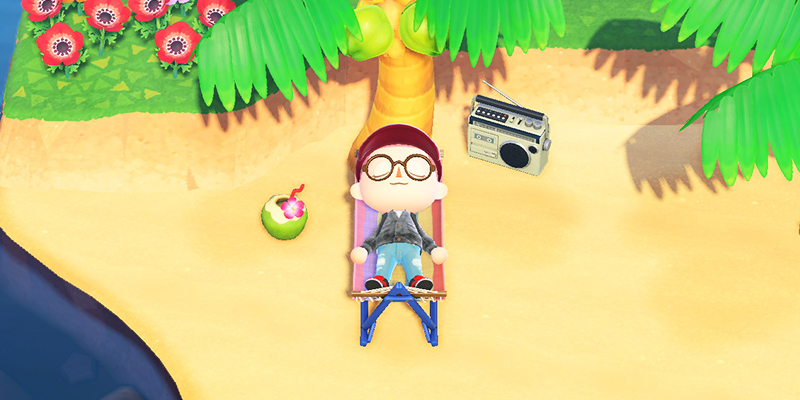 A screenshot from the game Animal Crossing: New Horizons. A person lies on a hammock under a palm tree, with a coconut drink on one side of them and a tape deck on the other.